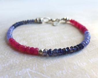 Tanzanite Iolite Ruby Gemstone Rondelle Bracelet, Pink Purple Blue Violet Gemstone Layering Bracelet, Thin Gemstone Beaded Yoga Bracelet