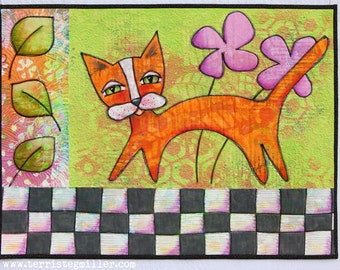Checkerboard Cat Art Quilt