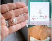Mother of the Bride Gift, Mother of the Groom Gift, Infinity Necklace, Freshwater Pearl, Mom Necklace, Thank you Gift, Mother's Gift, Silver