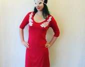 Bamboo Dress, Sultry With Lace Applique, Flame