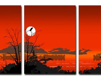 Extra Large Wall Art Triptych, Florida Everglades Tropical Birds Red Sunset Canvas Prints, Abstractr etro Pop Art