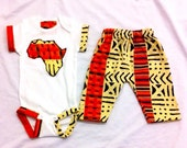 Nasir African Kente Print Africa Shape - Unique Baby Clothes