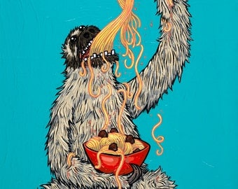 Sloth Eating Spaghetti 5x7 inch archival print