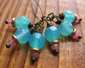 Faceted Aqua Agate and Pink Quartz Bead Charms - 1 Pair - 6 pieces