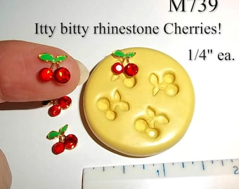 Tiny Cherries Cherry Flexible Push Mold For Resin Polymer Candy Chocolate - Food Safe Silicone M739