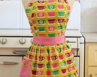 Retro Apron Colorful Teacups - CHLOE