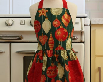 Vintage Inspired Christmas Ornaments on Green Full Apron for Little Girls