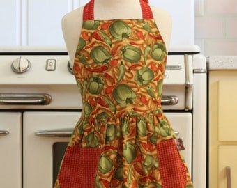 Retro Apron Green Bell Peppers Full Apron for Little Girls