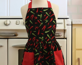 Retro Apron Black Chili Peppers Full Apron for Little Girls