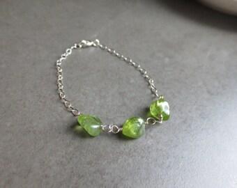 Peridot Gemstone Bracelet Sterling Silver
