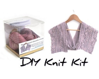 DIY knit kit, flower row crescent shawlette knitting kit, lacy silk seacell scarf pattern, choose your colour, knitters gift, uk seller