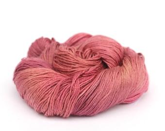 Luxury 4ply silk baby camel yarn, variegated skein handdyed fingering pink knitting crochet yarn, Perran Yarns Full Bloom, uk seller