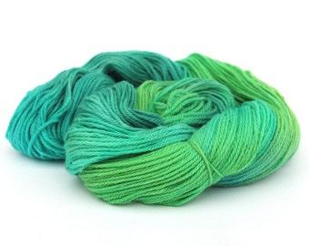 Handdyed 4ply sock yarn, fingering Falkland Merino knitting wool, UK spun blue green crochet Perran Yarn Woodland Glade, uk natural fibre