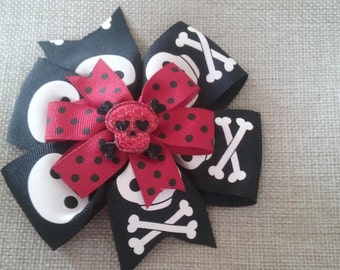 Black and White Skull with Red Polka Dot Ribbon Hair Bow (1006)