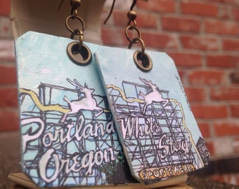 Portland White Stag Sign - pdx hand-painted earrings - Portland, Oregon - Norm Thompson