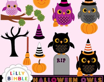 80% off Halloween Owls clipart in orange, purple, black, cute witches  INSTANT DOWNLOAD