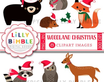 80% off Woodland Christmas animals, bear, raccoon, squirrel, deer, owl, hedgehog, fox, forest INSTANT DOWNLOAD Santa Claus