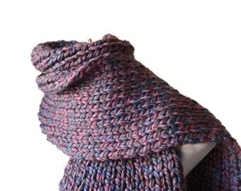 Purple Blue Rib Knit Scarf Oversize Scarf Men Women Gift CLARKE Ready to Ship - Autumn, Winter Fashion