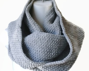 Grey Circle Scarf Light Gray Infinity Scarf Wool Blend Loop Men Women CHELSEA Ready to Ship - Autumn Fall Winter Fashion
