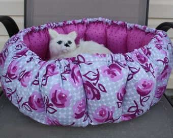 Cat Bed, Round Cat Bed, Small Dog Bed, Pet Bed, Pillow Pet Bed, Pink Cat Bed, Fabric Cat Bed, Fabric Bed, Washable Pet Bed, Luxury Cat Bed