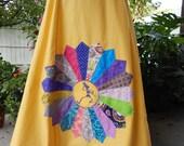 Grateful Dead Mandala Dancing Skeleton Yellow Skirt A-line Long and Full Spinner Skirt up to plus size bohemian skirt, OOak Skirt