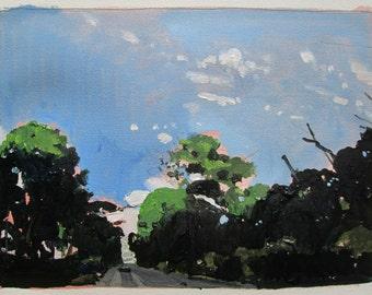 Kiss, Original September Acrylic Landscape Painting on Paper, Stooshinoff