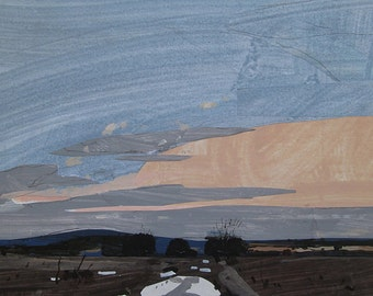 Walk Out, Original Winter Landscape Collage Painting on Panel, Stooshinoff