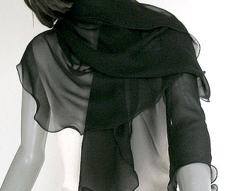 Black Chiffon Scarf, Petite Silk Wrap, See through Scarf, Black Formal Shawl, Petite Shoulder Scarf, Evening Scarf, Ready to Ship, Artinsilk