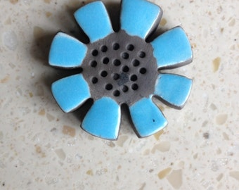 flower bead, ceramic, kiln fired clay, raku
