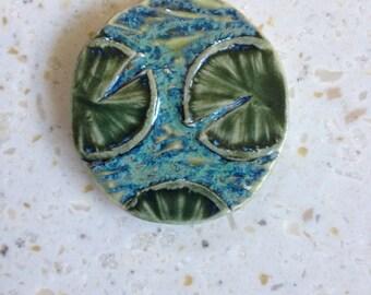 lily pads organic round porcelain pendant, tile