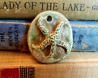 Handmade Ceramic Raku Fired Rustic Starfish Pendant Turquoise Blue Green  Rusty Crackle With Copper Tones
