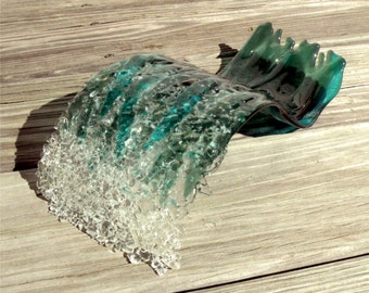 Catch a Wave Fused Glass Sculpture