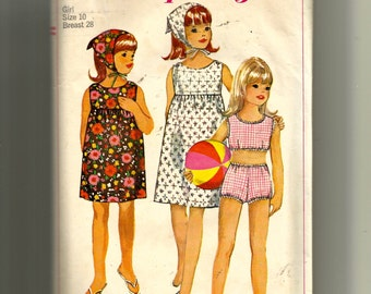 Simplicity Girls' Dress, Two-Piece Bathing Suit and Scarf Pattern 6471