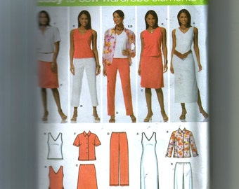Simplicity Misses' / Women's Shirt and Knit Tank Dress or Top , Skirt and Pants Pattern 4992