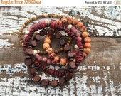 40% FLASH SALE- Beaded Stack Bracelets-Glass and Wood-Cuff Accessories-Boho Style-Autumn