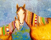 Horses with Doodle Braids Original Painting by Carol Iyer