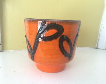 Mid Century Orange Pottery Planter Pot // Flower Stem Leaves