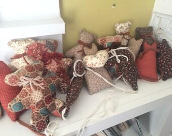 Lot of 18 Plush Bears Cats Hearts // Handmade // Colorful Calico // Pillows // Bunting Garland