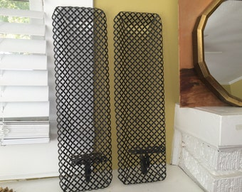 Black Metal Radiator Screen Wall Sconces / Perforated / Tall / Candle Holder / Pair