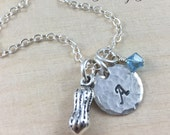 Personalized Peanut Charm Necklace, Hand Stamped Sterling Silver Initial Jewelry, Birthstone and Initial Disc, Peanut Necklace