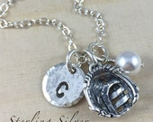 Sterling Silver Softball / Baseball Glove Charm Necklace, Personalized With Initial, Softball Coach Gift, Softball Team Gift, Glove Charm
