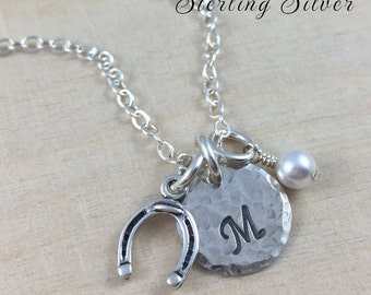 Horseshoe Charm Necklace, Personalized With Initial And Birthstone, Good Luck Horseshoe Necklace, Horse Lover Gift, Sterling Silver Jewelry