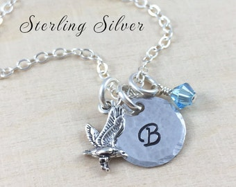 Sterling Silver Hawk Charm Necklace, Personalized With Birthstone And Initial Charm, Eagle Charm Necklace, Personalized Sterling Silver