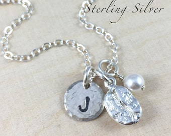 Personalized Jewelry - Coffee Bean Charm Necklace - Hand Stamped Necklace - Sterling Silver Initial Necklace