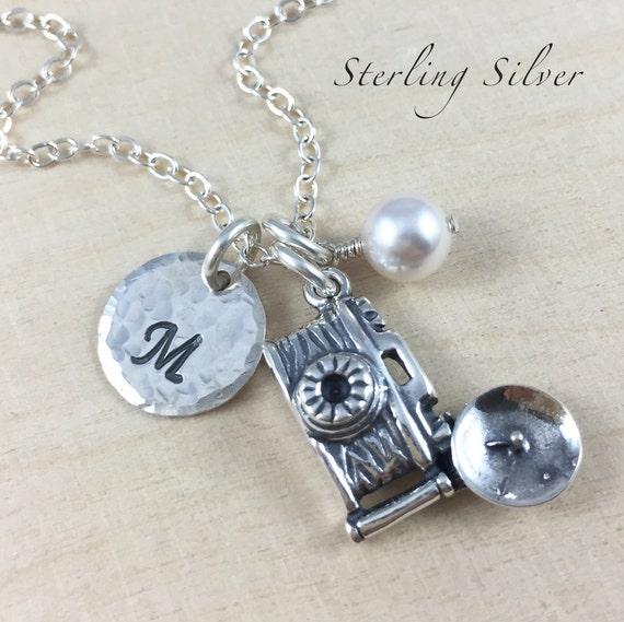 Sterling Silver Camera Charm Necklace, Personalized Initial and Birthstone Jewelry, Camera Charm Jewelry, Personalized Photographer Gift