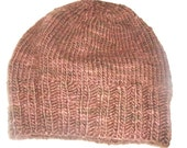 Hand knit hand dyed 100 % supersoft Malabrigo  merino wool watch cap men women brown espresso hat beanie