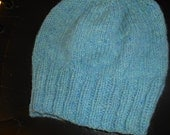 Hand Knit knitted wool woolen watchcap hat beanie Maine wool seafoam blue teal unisex adults teens men women