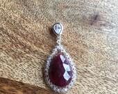 Custom Sterling silver Ruby pendant for Juneiva