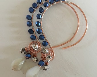 Eclectic silver copper hoops with blue glass beads