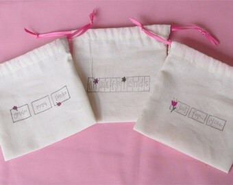 muslin party favor bags wedding favor small gift bags set of 5 hand stamped & painted